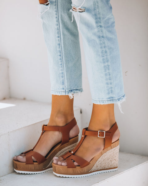 Heron Strappy Faux Leather Wedge