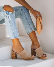 Lana Peep Toe Faux Suede Heeled Mule - FINAL SALE