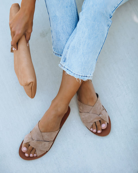 Poolside Faux Suede Criss Cross Sandal