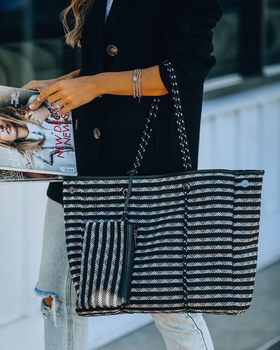 Sharp Striped Neoprene Tote Bag