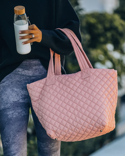 Breakaway Quilted Tote Bag - Pastel Pink