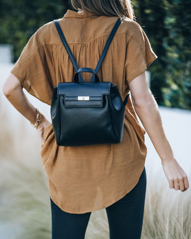 Lainey Faux Leather Backpack - Black view 2
