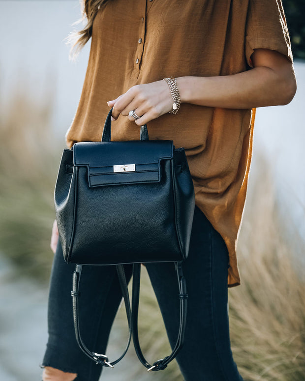 Lainey Faux Leather Backpack - Black view 5