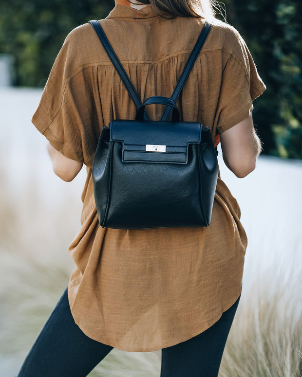 Lainey Faux Leather Backpack - Black view 7