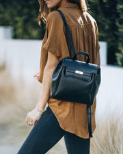 Lainey Faux Leather Backpack - Black view 8