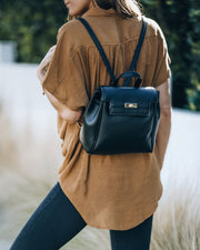 Lainey Faux Leather Backpack - Black view 1