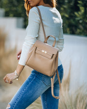 Lainey Faux Leather Backpack - Natural