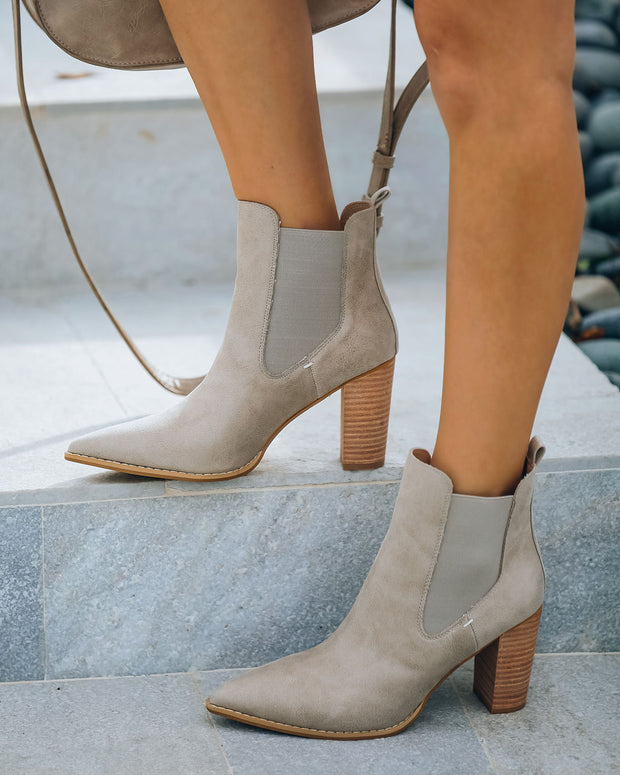 Carmel Faux Leather Heeled Bootie - Taupe