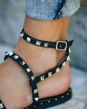 Venus Studded Strappy Sandal - Black view 4