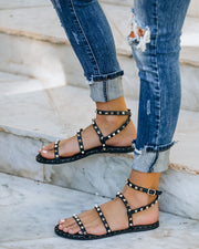 Venus Studded Strappy Sandal - Black view 8