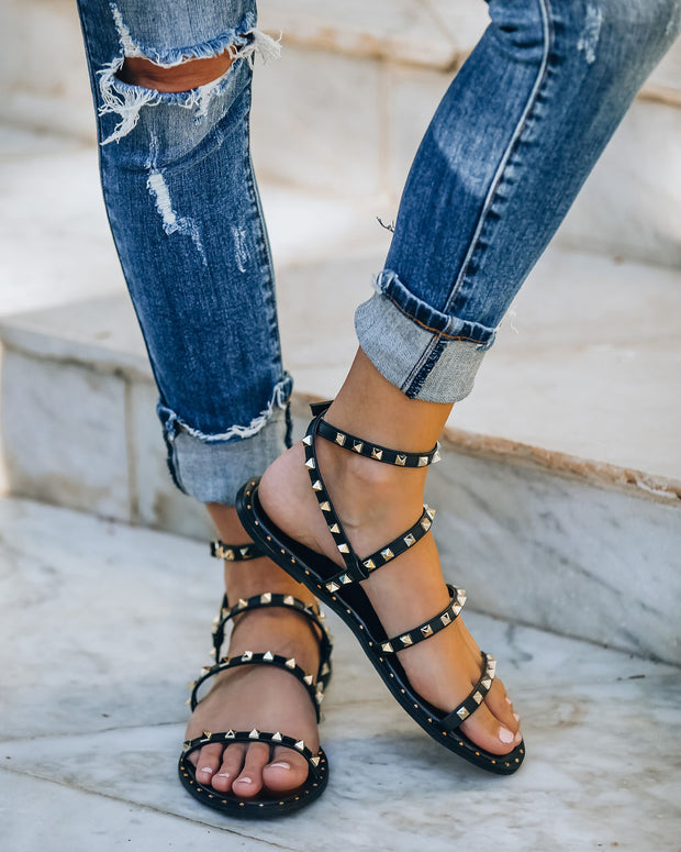 Venus Studded Strappy Sandal - Black view 5
