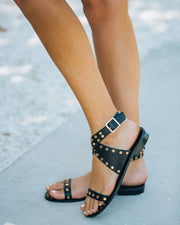 Chiara Studded Faux Leather Sandal - Black view 9
