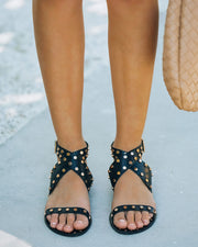 Chiara Studded Faux Leather Sandal - Black view 3