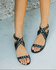 Chiara Studded Faux Leather Sandal - Black view 8