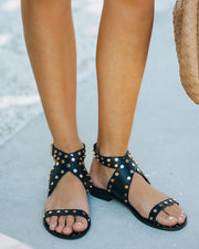 Chiara Studded Faux Leather Sandal - Black