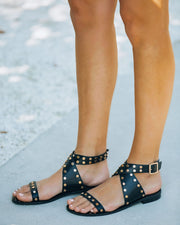 Chiara Studded Faux Leather Sandal - Black view 10