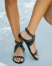 Chiara Studded Faux Leather Sandal - Black view 6