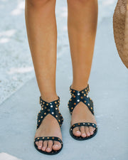 Chiara Studded Faux Leather Sandal - Black view 7