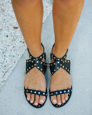 Chiara Studded Faux Leather Sandal - Black view 1