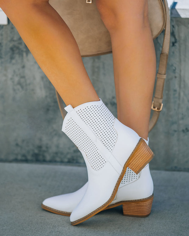 Bronco Perforated Western Boot - White view 6