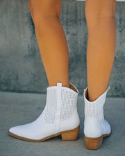 Bronco Perforated Western Boot - White view 8