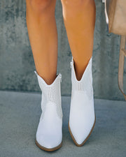 Bronco Perforated Western Boot - White view 10