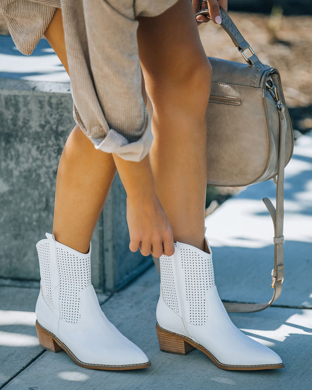 Bronco Perforated Western Boot - White view 7