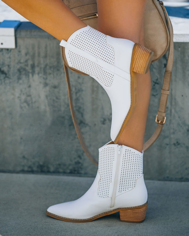 Bronco Perforated Western Boot - White view 2
