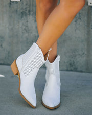 Bronco Perforated Western Boot - White view 11
