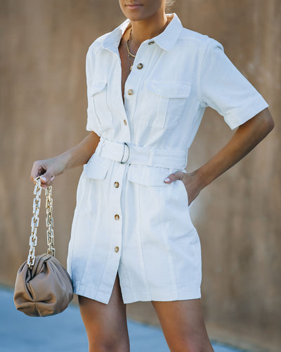 Pulse Cotton Pocketed Denim Utility Dress - Ivory