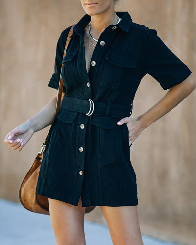 Pulse Cotton Pocketed Denim Utility Dress - Black
