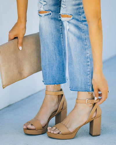 Go On Faux Leather Heeled Platform Sandal