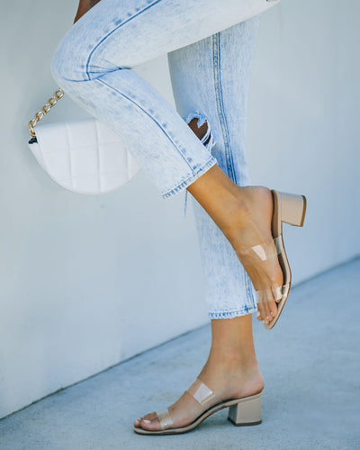 Heather Clear Strap Block Heeled Sandal