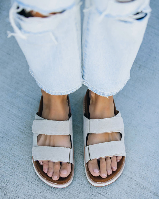 Comfort Faux Suede Velcro Sandal - Grey view 3