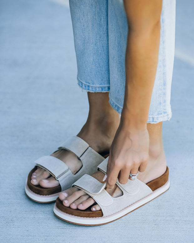 Comfort Faux Suede Velcro Sandal - Grey view 1