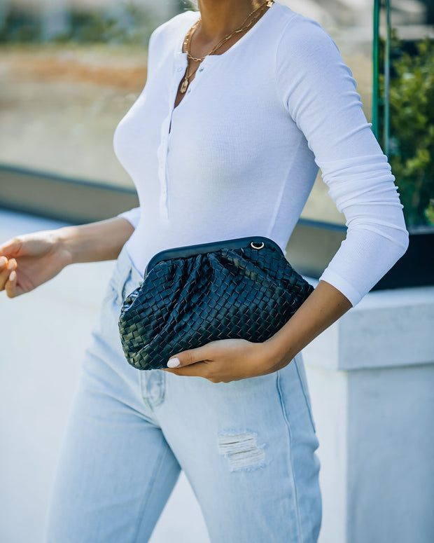 Milan Mini Woven Crossbody Pouch Bag - Black view 3