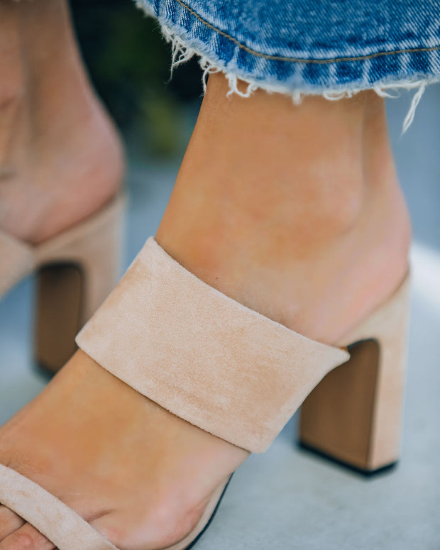 Whitley Faux Suede Square Toe Heeled Sandal - Blush view 4