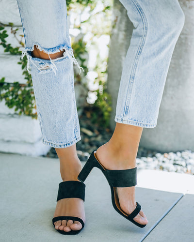 Whitley Faux Suede Square Toe Heeled Sandal - Black