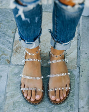 Venus Studded Strappy Sandal - Clear view 2