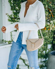Ace Croc Embossed Shoulder Bag - Nude view 3
