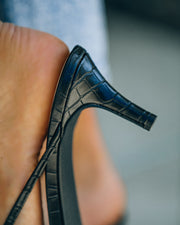 Icon Square Toe Heeled Croc Sandal - Black view 4