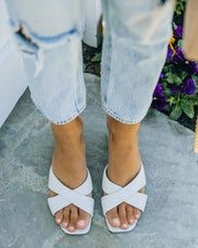 Twiggy Criss Cross Heeled Sandal - Off White view 3
