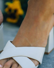 Twiggy Criss Cross Heeled Sandal - Off White view 4