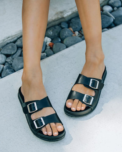 Madison Faux Leather Buckle Sandal