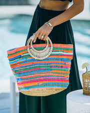 Fun And Bright Jute Handbag view 3