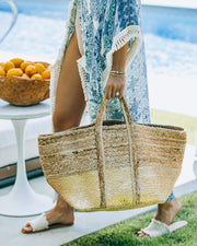 Dipped In Gold Braided Jute Tote Bag view 5
