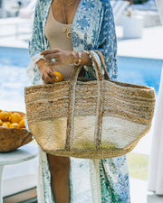 Dipped In Gold Braided Jute Tote Bag view 1