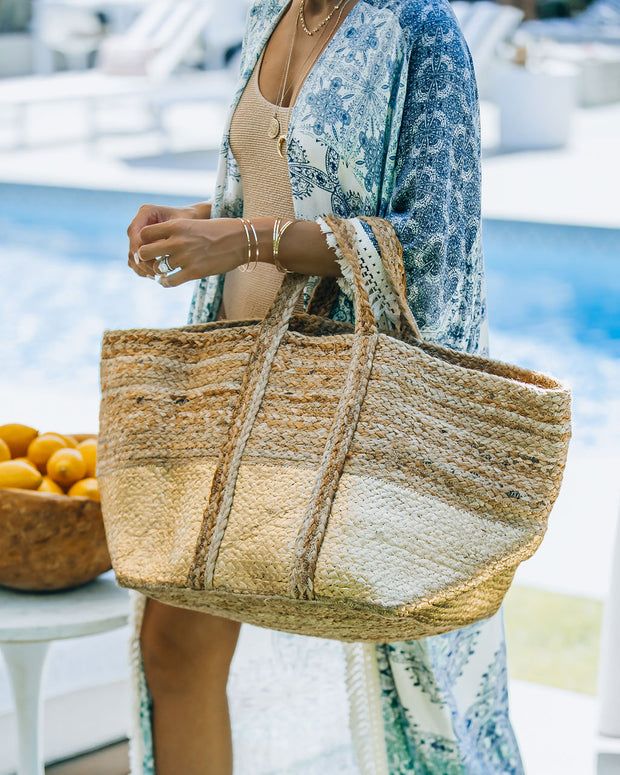 Dipped In Gold Braided Jute Tote Bag view 6