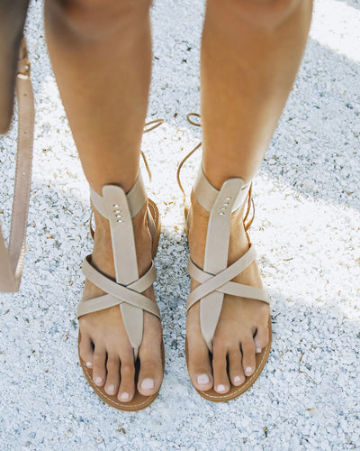 Blaze Faux Leather Sandal - Taupe