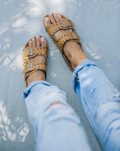 Tilly Studded Buckle Sandal - Camel